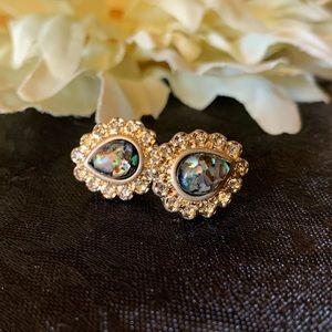 🖤 Black Crystal and Gold-tone Teardrop Earrings